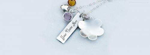 Lovely Silver Necklace FB Cover With Name