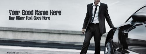 Man in suit and Car FB Cover With Name