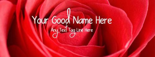 Red Rose Closeup FB Cover With Name