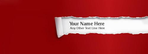 Red Torn Paper FB Cover With Name