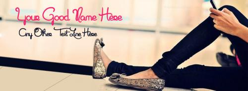 Stylish Girly Shoes FB Cover With Name