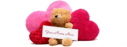 Teddy and Hearts FB Cover With Name