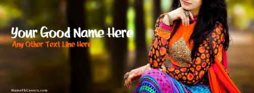 Pretty Colorful Dress FB Cover With Name
