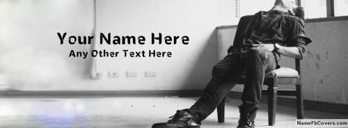 Sad Alone Boy Waiting FB Cover With Name