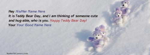Teddy Bear Day Wish FB Cover With Name