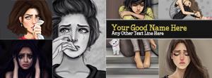 Crying Girls Collage Name Facebook Cover