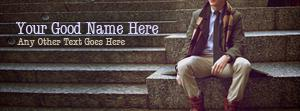 Fashion Dude Sitting Name Facebook Cover