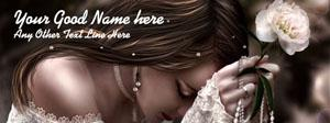 Beautiful Girl with White Flower Name Facebook Cover