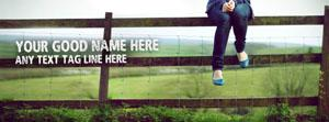Girl sitting on fence Name Facebook Cover