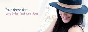 Hat Girl Smiling - Tag Line Name Facebook Cover