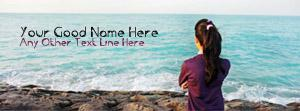 Lonely Girl and Sea View Name Facebook Cover