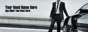Man in suit and Car Name Facebook Cover