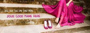Purple dress heels girl Name Facebook Cover
