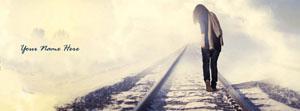 Sad girl walking on railway track Name Facebook Cover