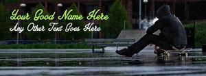 Skate Boy in Rain Name Facebook Cover