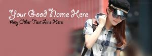 Stylish Girl Wearing Cap Name Facebook Cover