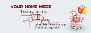 Today is my Birthday Name Facebook Cover