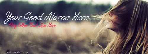 Waving Hair FB Cover With Name