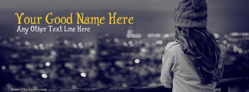 Winter Girl Waiting FB Cover With Name