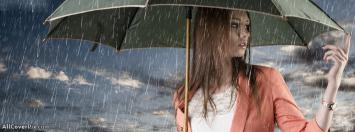 Girl In Rain With Umbrella Facebook Cover Photo