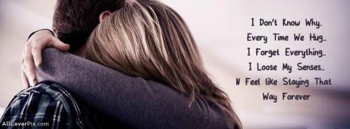 Awesome Couple Hug Cover Photo With Lovely Quote -  Facebook Covers