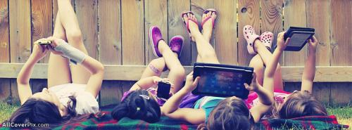 Girls Using Tablets Cover Photos Facebook -  Facebook Covers
