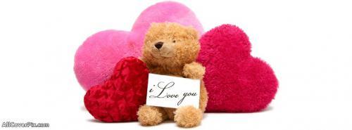 I Love You Note Teddy Bear Facebook Cover Photos -  Facebook Covers