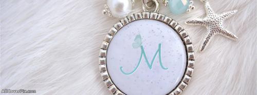 Necklace Alphabet M Facebook Cover -  Facebook Covers