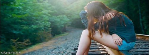 Sad Alone Girl On Track Fb Cover Photos -  Facebook Covers